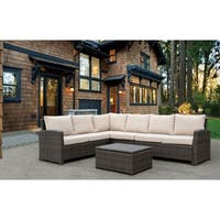 Havenside Home Stillwater Outdoor Sofa Sectional with Cushions and Coffee Table