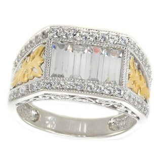 Michael Valitutti Sterling Silver Baguette & Round Cubic Zirconia Two-tone Ring - White