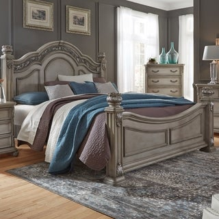 Messina Estates Dove Gray Traditional Poster Bed Set