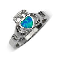 Sterling Silver Polished Inlaid Created Blue Opal Claddagh Celtic Ring - White