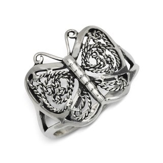 Sterling Silver Antiqued Filigree Butterfly Band Ring - White