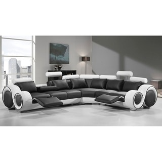 Shop Renaissance Black/White Leather L Shaped Sofa With Rounded Armrests    Free Shipping Today   Overstock.com   17309849