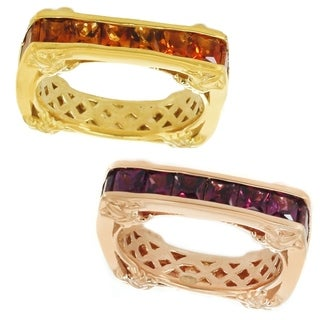 Dallas Princess Sterling Silver Princess Cut Yellow Citrine Rhodolite Eternity Band Ring