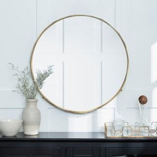 """32"""" Round Wire Nest Frame Mirror - Gold - 32 x 4 x 32h"""