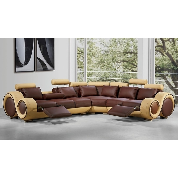 Renaissance Brown Beige Leather L Shaped Sofa With Rounded Armrests