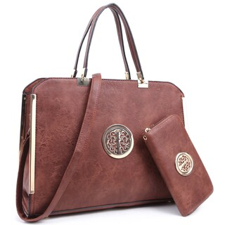 Dasein Large Washed Texture Laptop Briefcase Handbag with Matching Wallet (Option: Brown)