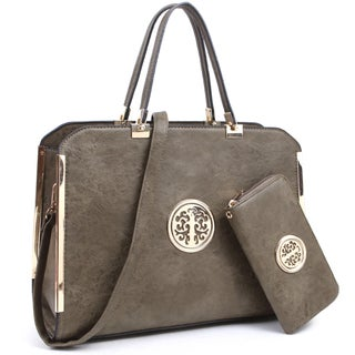 Dasein Large Washed Texture Laptop Briefcase Handbag with Matching Wallet