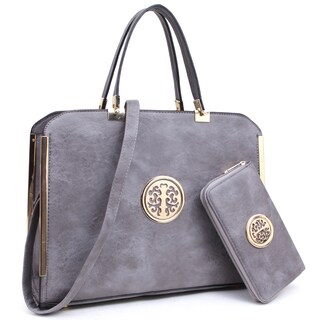 Dasein Large Washed Texture Laptop Briefcase Handbag with Matching Wallet (Option: Grey)