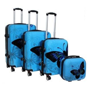 World Traveler Butterfly Light Blue 4-piece Hardside Spinner Luggage Set