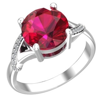 Gorgeous ring with Created Ruby and Diamonds