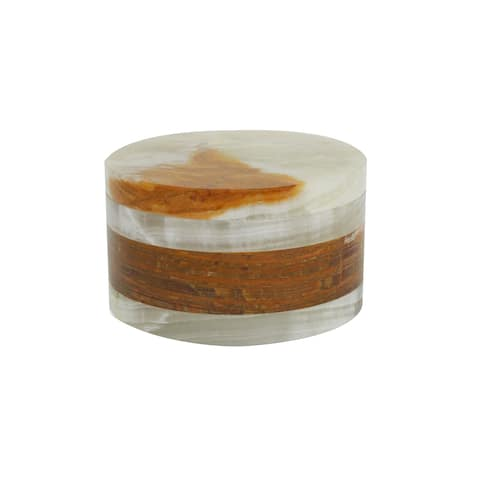 Polished Marble Jar, Green and Amber, Shower and Bathroom Accessory
