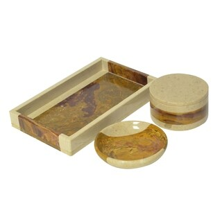 Polished Marble 3-Piece Bath Set, Desert Sand and Amber, Shower and Bathroom Accessory