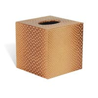 Genuine Leather Tissue Box Cover for Vanity Countertop, Golden Brown, Shower and Bathroom Accessory