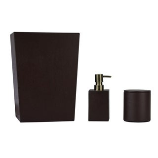 Genuine Leather 3-Piece Bath Set, Chestnut, Shower and Bathroom Accessory