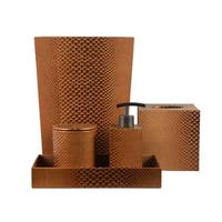 Genuine Leather 5-Piece Bath Set, Golden Brown, Shower and Bathroom Accessory
