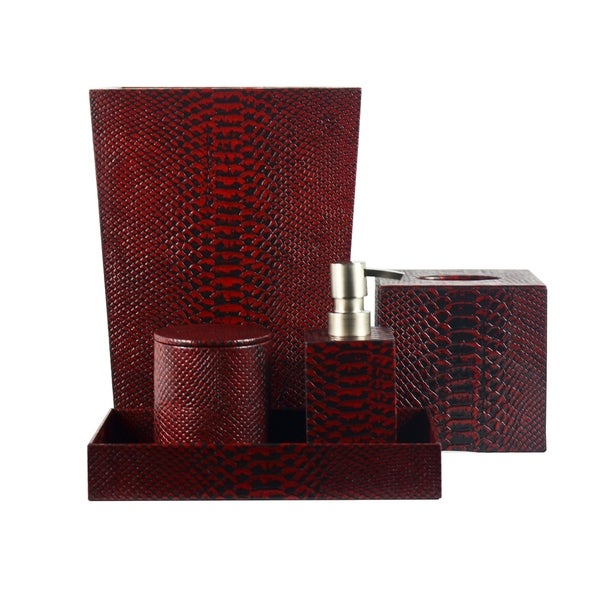 shop genuine leather 5 piece bath set red mamba shower and bathroom accessory free shipping. Black Bedroom Furniture Sets. Home Design Ideas