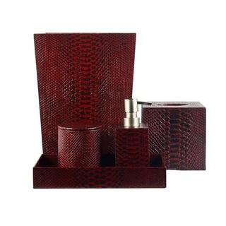 Genuine Leather 5 Piece Bath Set, Red Mamba, Shower And Bathroom Accessory