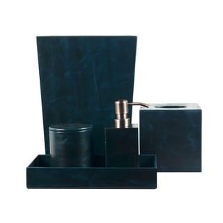 Genuine Leather 5-Piece Bath Set, Sapphire Blue, Shower and Bathroom Accessory