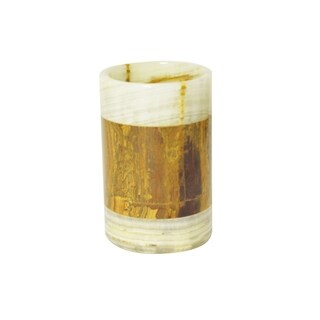 Polished Marble Tumbler, Green and Amber, Shower and Bathroom Accessory