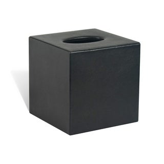 Genuine Leather Tissue Box Cover for Vanity Countertop, Black, Shower and Bathroom Accessory