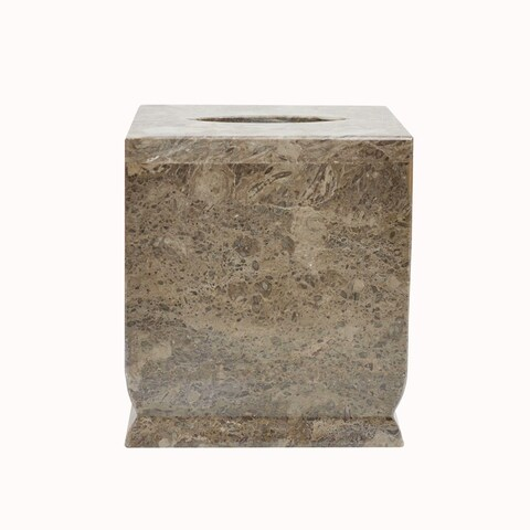 Polished Marble Tissue Box Cover, Taupe Gray, Shower and Bathroom Accessory