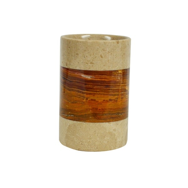 Polished Marble Tumbler, Desert Sand and Amber, Shower and Bathroom Accessory