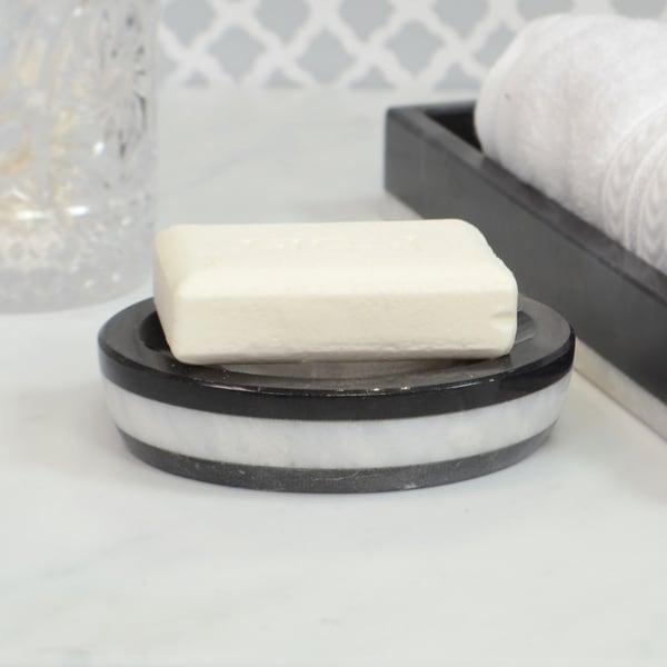 Polished Marble Soap Dish Alabaster White Shower and Bathroom Accessory