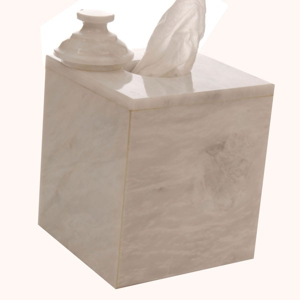 Polished Marble Tissue Box Cover, Alabaster White, Shower and Bathroom Accessory