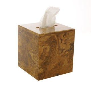 Polished Marble Tissue Box Cover, Amber, Shower and Bathroom Accessory