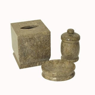 Polished Marble 3-Piece Bath Set, Taupe Gray, Shower and Bathroom Accessory