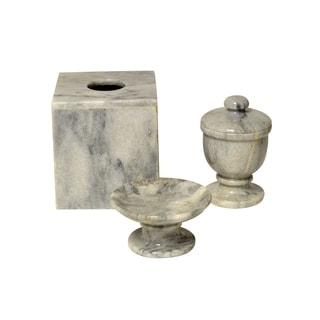 Polished Marble 3-Piece Bath Set, Cloud Gray, Shower and Bathroom Accessory