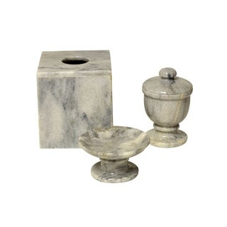 Polished Marble 3-Piece Bath Set, Cloud Gray, Shower and Bathroom Accessory