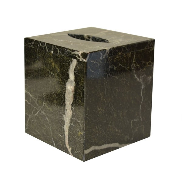 Polished Marble Tissue Box Cover, Black Zebra, Shower and Bathroom Accessory