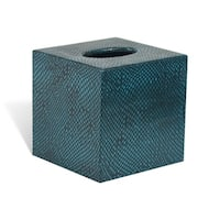 Genuine Leather Tissue Box Cover for Vanity Countertop, Teal Blue, Shower and Bathroom Accessory