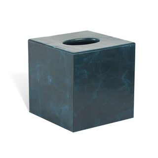 Genuine Leather Tissue Box Cover for Vanity Countertop, Sapphire Blue, Shower and Bathroom Accessory