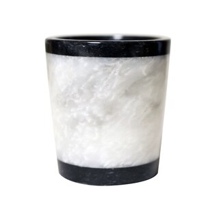 Polished Marble Tumbler, Jet Black and Alabaster, Shower and Bathroom Accessory
