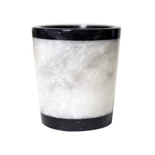 Clearance Polished Marble Tumbler Jet Black And Alabaster Shower Bathroom Accessory