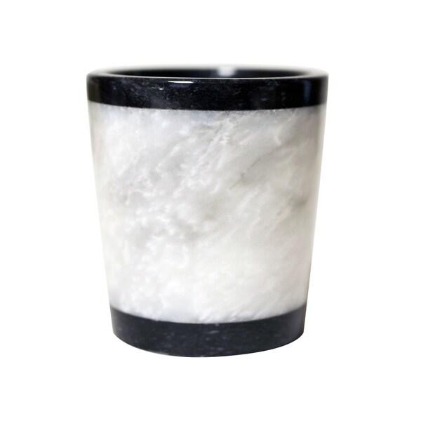 polished marble tumbler jet black and alabaster shower and bathroom accessory - Bathroom Tumbler