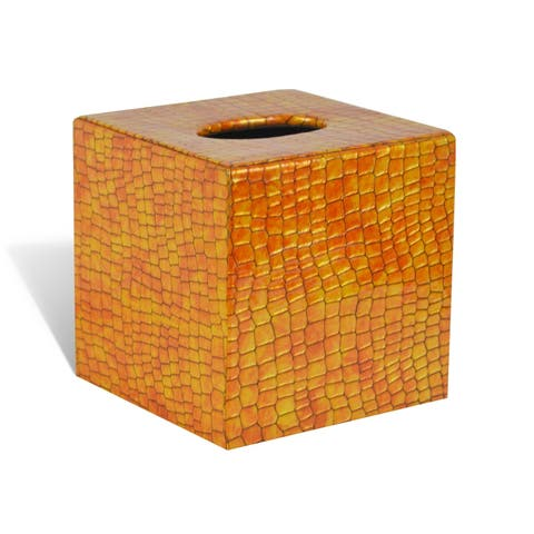 Genuine Leather Tissue Box Cover for Vanity Countertop, Honey Comb, Shower and Bathroom Accessory