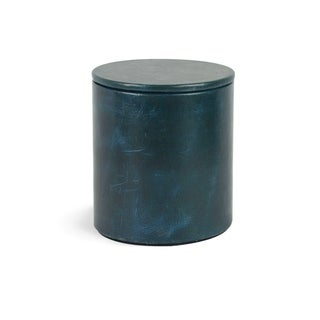 Genuine Leather Round Jar With Lid / Storage Canister, Sapphire Blue, Shower and Bathroom Accessory