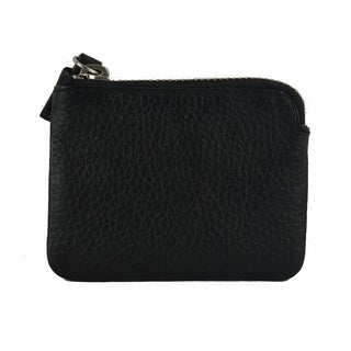 Genuine Leather Credit Card Holder / ID Holder with Zipper Closure, Black