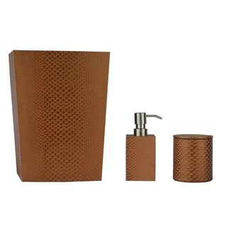 Genuine Leather 3-Piece Bath Set, Golden Brown, Shower and Bathroom Accessory