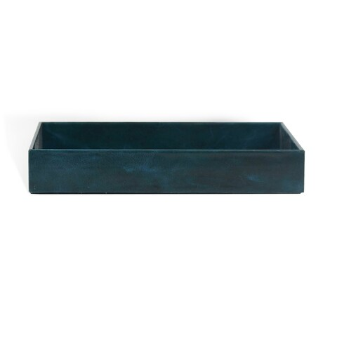Genuine Leather Rectangle Storage Tray, Sapphire Blue, Shower and Bathroom Accessory