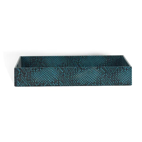 Genuine Leather Rectangle Storage Tray, Teal Blue, Shower and Bathroom Accessory