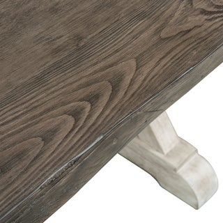 Willowrun Rustic White and Weathered Gray Trestle Table - Grey