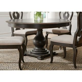 Round kitchen dining room tables for less overstock chesapeake wire brushed antique black 48x60 pedestal dinette table workwithnaturefo