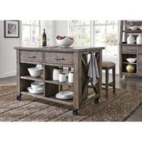Prescott Valley Antique Tobacco Planked Top Kitchen Island - Brown