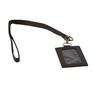 Genuine Leather Badge / Name Tag Holder with Lanyard / Neck Strap, Brown