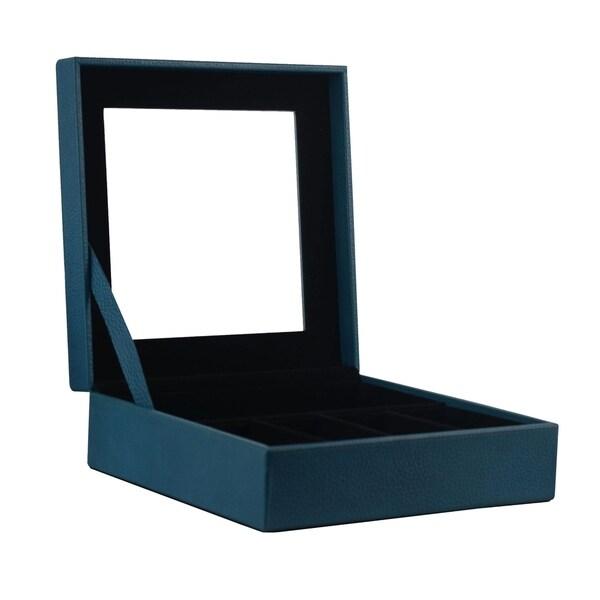 Genuine Leather Jewelry Organizer Box / Watch Storage Case Display With  Glass Top, Light Blue