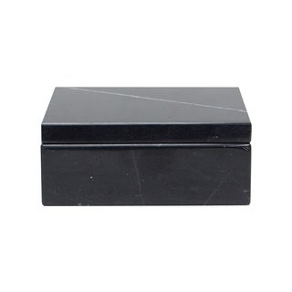 Polished Marble Decorative Keepsake Box Souvenir, Black Zebra